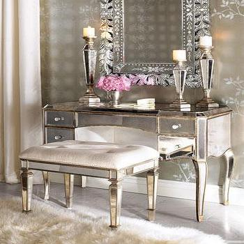 "Tables - ""Claudia"" Mirrored Vanity/Desk & Vanity Seat - Neiman Marcus - mirrored vanity, mirrored desk, antique mirrored vanity, mirrored vanity bench, mirrored vanity seat, antique mirrored vanity seat,"