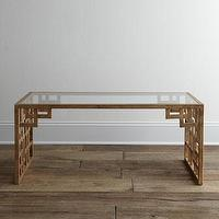 Tables - 'Lovelace' Coffee Table - Neiman Marcus - Asian-style fretwork coffee table, gold Asian coffee table, glass topped Asian coffee table, gold fretwork coffee table,