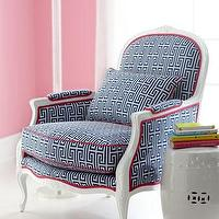 Seating - 'Johanna' Upholstered Armchair - Neiman Marcus - white carved armchair with blue and white fabric, blue and white fretwork chair, Lilly Pulitzer upholstered chair, navy blue and white Greek key chair,