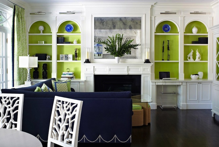 Anne Hepfer Designs - living rooms - Z Chair, blue and green, blue and green design, blue and green living rooms, floor to ceiling built-ins, wall-to-wall built-ins, living room built-ins, lined bookshelves, lined built-ins, green bookshelves, green cabinets, arched built-ins, arched built-in cabinets, built-ins flanking fireplace, cabinets flanking fireplace, built-in desks, z chairs, acrylic desk chairs, desk chairs, bookcase vignettes, antiqued fireplace mirror, inset fireplace mirrors, picture lights, bookshelf lighting, built-ins lighting, bookcase lighting, polished nickel picture lights, sectional sofa, royal blue sectional sofas, velvet sectional sofas, blue velvet sectional sofas, sectional sofa with nailhead trim, nailhead sectional sofas, blue and green pillows, green drapes, patterned green drapes, floor to ceiling drapes, floor to ceiling living room drapes,