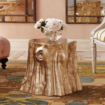 Tables - Golden 'Cut Stump' Table - Neiman Marcus - gold stump table, stump table, tree stump table, gold tree stump table,