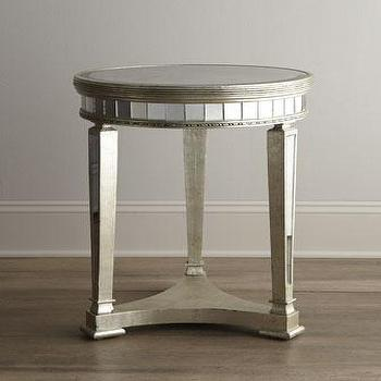 Tables - 'Amelie' Mirrored Lamp Table - Neiman Marcus - mirrored side table, mirrored end table, mirrored accent table,