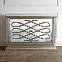 Storage Furniture - 'Lamartine' Mirrored Chest - Neiman Marcus - mirrored chest, mirror fronted chest, wave pattern mirrored chest, mirror fronted cabinet,