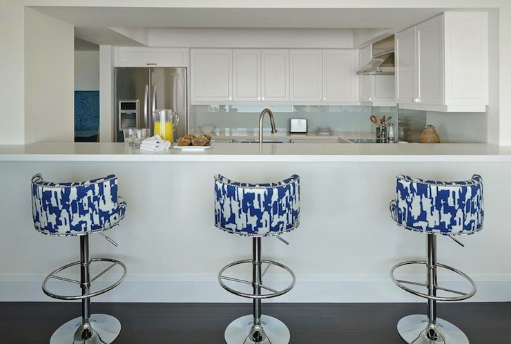 White And Blue Bar Stools Contemporary Kitchen Anne
