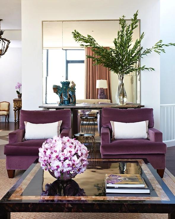 Plum Velvet Chairs Contemporary Living Room Anne