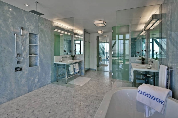 Open shower design contemporary bathroom anne hepfer for Open air bathroom designs