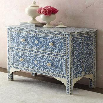 Storage Furniture - 'Hilliard' Two Drawer Chest - Neiman Marcus - bone inlay chest, blue bone inlay chest, blue inlaid bone chest, blue inlaid bone chest,
