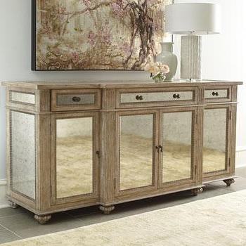 Storage Furniture - 'Dalton' Mirrored Console - Neiman Marcus - antiqued mirrored console, antiqued mirrored cabinet, antiqued mirrored sideboard,