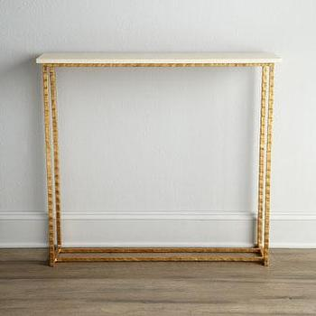 Tables - 'Serenity' Console - Neiman Marcus - marble topped console table, gold and marble topped console table,