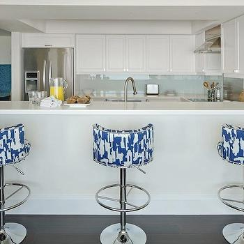 White and Blue Bar Stools, Contemporary, kitchen, Anne Hepfer Designs