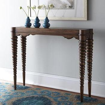 Tables - 'Clara' Console - Neiman Marcus - spool legged console, mahogany spool legged console, spool legged console table,