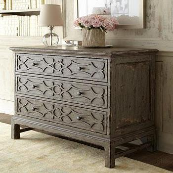 Storage Furniture - Gray Three-Drawer Chest - Neiman Marcus - distressed gray chest, three drawer gray chest, rustic gray chest,
