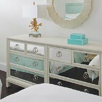 Anne Hepfer Designs - bedrooms - mirrored dressers, bedroom dressers, off-white bedroom dressers, dressers with mirrored doors, ivory mirrored dressers, dresser mirrors, coral lamps, gold coral lamps, lucite table lamps, lucite lamps, coral and lucite lamps, stacked boxes, lacquer boxes, turquoise lacquer boxes, turquoise blue lacquer boxes, turquoise stacked boxes, turquoise blue stacked boxes, lacquer stacked boxes, off-white mirrors, off-white scalloped mirrors, scalloped mirrors, Made Goods Naia Table Lamp,