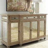 Storage Furniture - &#039;Dalton&#039; Mirrored Console - Neiman Marcus - antiqued mirrored console, antiqued mirrored cabinet, antiqued mirrored sideboard,