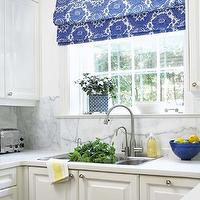 Anne Hepfer Designs - kitchens - modern cottage kitchens, white kitchens, traditional kitchen cabinets, white kitchen cabinets, honed quartz counters, honed quartz countertops, white honed counters, white honed countertops, honed kitchen counters, honed kitchen countertops, honed white quartz, honed kitchen tops, marble slab backsplash, marble slabs, brushed nickel faucets, kitchen faucets, brushed nickel kitchen faucets, kitchen windows, white and blue floral, white and blue floral shades, kitchen roman shades, marble backsplash, marble slab backsplash kitchen,