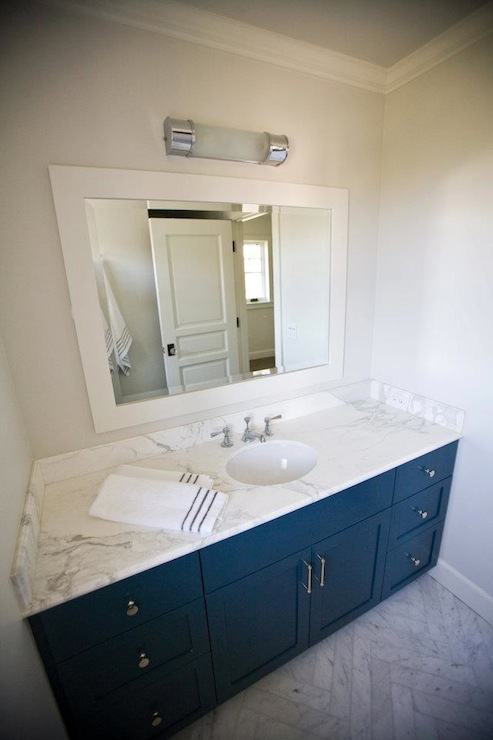 White Framed Bathroom Mirror