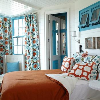 Orange Bedspread, Cottage, bedroom, Tracery Interiors