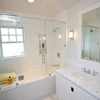 Subway Tile Shower, Transitional, bathroom, Andrea May Hunter Gatherer