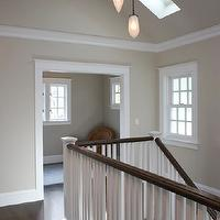 Mueller Nicholls - entrances/foyers - cathedral ceilings, second floor landings, creamy gray paint, creamy gray paint colors, skylights, second floor landing skylights, landing skylights, glossy crown moldings, glossy, door moldings, greige paint, greige walls, greige paint colors, greige paint color, gray beige paint, gray beige walls,