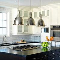 Laura Stein Interiors - kitchens - industrial pendants, island pendants, industrial yoke pendants, gas cooktops, island cooktops, kitchen island cooktops, espresso kitchen islands, espresso stained islands, microwave nooks, two-tone cabinets, ivory kitchen cabinets, perimeter cabinets, ivory perimeter cabinets, perimeter kitchen cabinets, marble linear tiles, marble linear backsplash, marble linear kitchen backsplash, marble linear tile backsplash, Restoration Hardware Benson Pendant,
