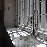 New England Stone - kitchens - calcutta gold marble sinks, calcutta gold marble kitchen sinks, marble sinks, marble kitchen sinks, kitchen windows, thick crown moldings, kitchen crown moldings, instant hot water faucets, twin kitchen sinks, double kitchen sinks, twin faucets, twin kitchen faucets, contemporary wall sconces, white crown moldings, calcutta gold, calcutta gold marble, calcutta gold marble counters, calcutta gold marble countertops, calcutta gold marble backsplash, calcutta gold marble kitchen backsplash, dual sinks, dual kitchen sinks,