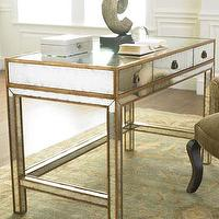 Tables - Mirrored Writing Desk - Neiman Marcus - mirrored writing desk, mirrored desk, antiqued mirrrored writing desk, eglomise writing desk,