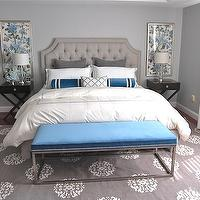 Erin Gates Design - bedrooms - blue and gray, blue and gray bedrooms, blue and gray bedroom colors, blue and gray color combo, blue bedroom walls, blue bedroom color, blue bedroom paint, blue bedroom walls, light gray headboard, velvet headboard, tufted headboard, light gray velvet headboard, light gray tufted headboard, light gray velvet tufted headboard, teal, teal bolster pillow, teal velvet pillow, gray pillows, gray sheets, white hotel bedding, modern bedroom bench, teal velvet bench, teal bench, teal modern bench, teal bedroom bench, gray rug, patterned rug, gray patterned rug, espresso nightstands, x-base nightstands, expresso x-base nightstands, fabric art, fabric panels, fabric panel art, teal bedrooms, gray bedrooms, gray and teal bedrooms, teal and gray bedrooms, peacock blue bedrooms, peacock and gray bedrooms, gray bedrooms, Madeline Weinrib Atelier Platinum Mandala Rug, Williams-Sonoma Hudson Side Table,