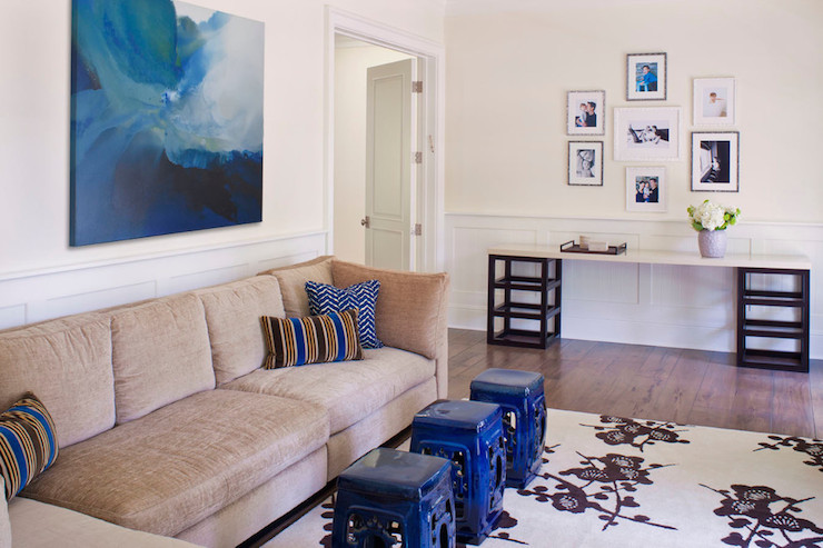 Tan And Navy Blue Living Room