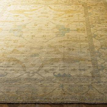 Rugs - 'Meadow' Oushak Rug - Neiman Marcus - oushak rug, gold oushak rug, gold and blue oushak rug,