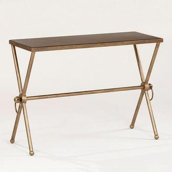 Tables - Piper X-Base Accent Table | World Market - brass accent table, antiqued brass accent table, x-base accent table, brass x-base accent table,