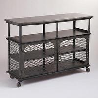 Storage Furniture - Metal Bexley Bar | World Market - metal bar, industrial bar, industrial console table, industrial bar with castors,