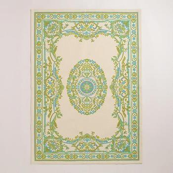Rugs - 4'x6' Green Victorian Dhurrie Rug | World Market - green victorian rug, green dhurrie rug, indian dhurrie rug,