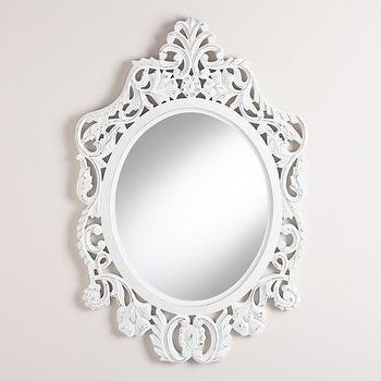 Mirrors - White Oval Olivia Carved Mirror | World Market - white carved mirror, white carved wood mirror, carved wood oval mirror,