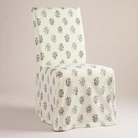 Seating - Block Print Long Anna Chair Slipcover | World Market - block print slipcover, parsons chair slipcover, cotton slipcover,