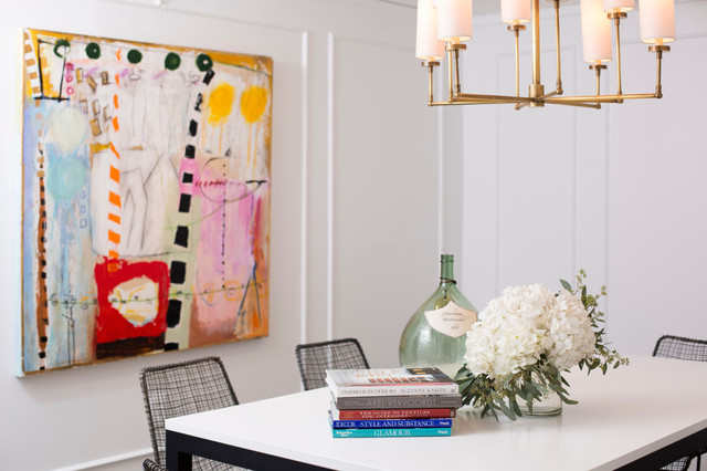 Marie Flanigan Interiors - dining rooms - Ziyi Large Chandelier, white walls, abstract art, brightly colored abstract art, metal based parsons dining table, parsons style dining table, wire chairs, modern wire chairs, antique brass chandelier, demi john, stacked books, flowers, contemporary dining room, modern dining room,
