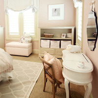 Marie Flanigan Interiors - girl's rooms - girls room, princess room, pink girls room, baby pink wall color, baby pink walls, wall to wall carpeting, gray lattice area rug, pale gray lattice rug, white kidney shaped vanity, white kidney shaped desk, bentwood chair, pink pillow, off white bookcase, girly bedroom, blinds, plantation shutters, pink ottoman, frameless mirror, frameless beveled mirror, pink and gray girl room, pink and gray girls room, pink and gray girl bedroom, pink and gray girls bedroom,