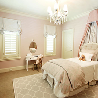 Marie Flanigan Interiors - girl's rooms - girls room, princess room, pink girls room, baby pink wall color, baby pink walls, wall to wall carpeting, gray lattice area rug, pale gray lattice rug, white kidney shaped vanity, white kidney shaped desk, bentwood chair, pink pillow, off white bookcase, girly bedroom, blinds, plantation shutters, pink ottoman, frameless mirror, frameless beveled mirror, pink canopy bed, pink silk canopy, french tufted headboard, tufted headboard, linen duvet, white bed linens, beaded chandelier, oval nightstands, french cafe chairs, pink girls bedrooms, girls paint colors,