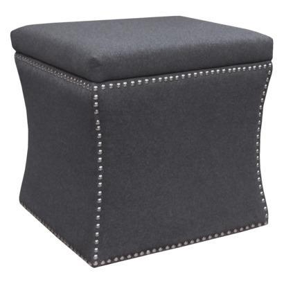 Accent Furniture Nailhead Storage Ottoman Gray Target