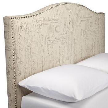 Beds/Headboards - Script Nailhead Upholstered Headboard,Full/Queen - Target - camelback headboard, camelback headboard with nailhead trim, french script headboard,