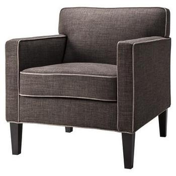 Seating - Cooper Upholstered Armchair, Textured Charcoal - Target - charcoal gray armchair, gray armchair with piping, modern gray armchair,