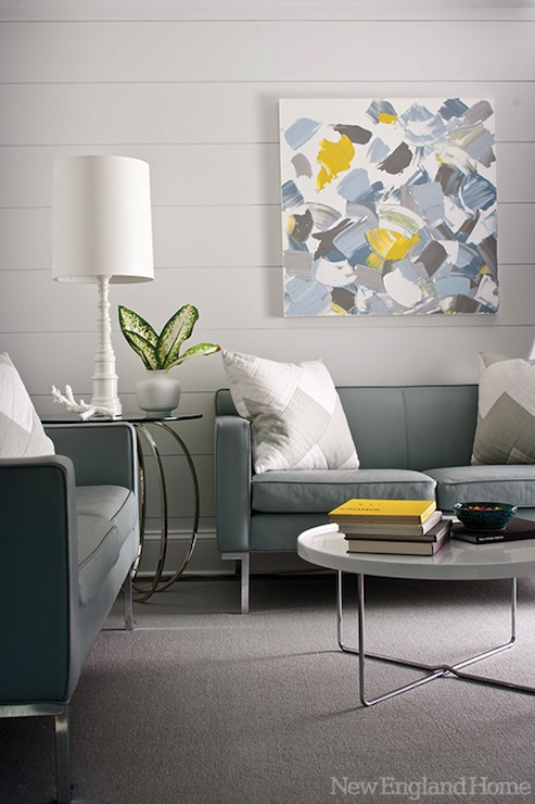 Gray and blue living space contemporary living room new england home - Grey and blue living room ...