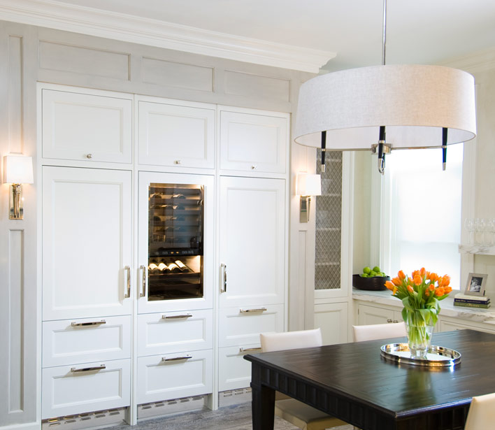Buil in wine cooler transitional kitchen o 39 brien harris - Kitchens with wine coolers ...
