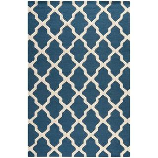 Rugs - Handmade Cambridge Moroccan Blue Wool Rug | Overstock.com - dark blue trellis rug, dark blue Moroccan rug, dark blue and ivory trellis rug,