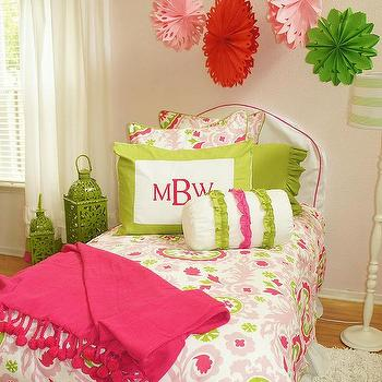 Maddie Boo Bedding - girl's rooms - pink, green, suzani, monograms, girls bedding, ruffled window treatments, pink and green girl room, pink and green girls room,