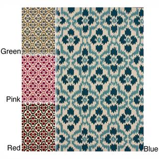Rugs - Handmade Trellis Ikat Rug (5' x 8') | Overstock.com - blue ikat rug, red ikat rug, pink ikat rug, green ikat rug, trellis ikat rug,