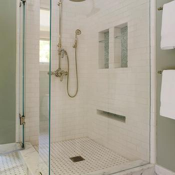 Coddington Design - bathrooms: tile, mosaic, bathroom, shower, custom, vanity, marble, baseboards, modern, white, traditional, eclectic, recessed shelf, towels, green, Coddington Design, Melanie Coddington,