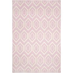 Rugs - Moroccan Dhurrie Pink/ Ivory Wool Rug (8' x 10') | Overstock.com - pink dhurrie rug, Moroccan pink dhurrie rug, pink geometric rug,