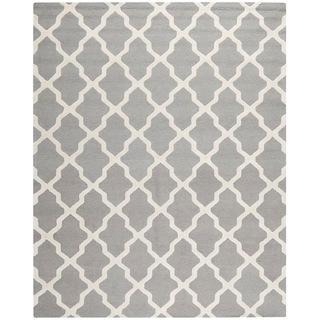 Rugs - Handmade Cambridge Moroccan Silver Wool Rug | Overstock.com - gray moroccan rug, gray trellis rug, silver trellis rug,