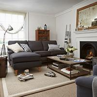 Sofa - living rooms - charcoal gray sofas, sofa with chaise lounge, layered rugs, fireplace, antiqued mirrors, industrial coffee tables, vintage floor lamps, The Bluebell Sofa,