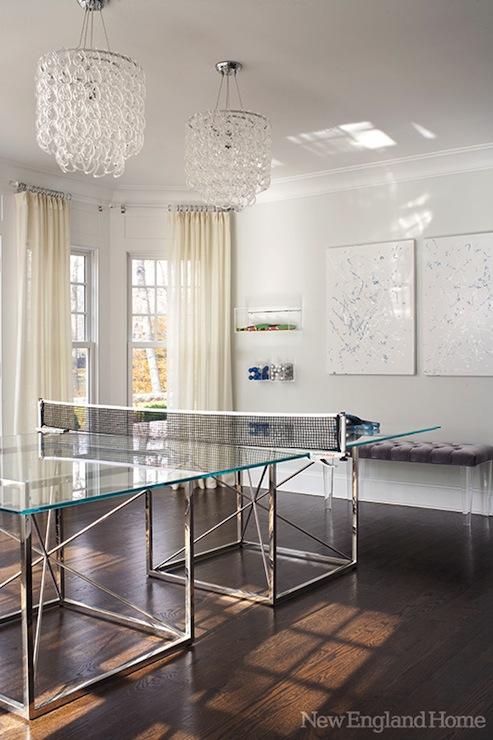 Lucite Bench Contemporary Media Room New England Home